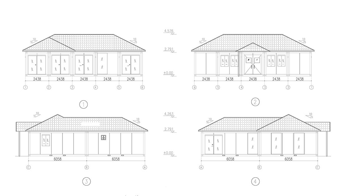 drawings of UK Holiday Villa Container House